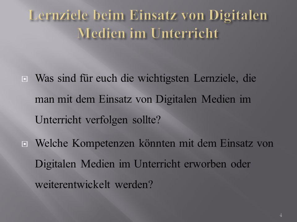 Lernziele beim Einsatz von Digitalen Medien im Unterricht