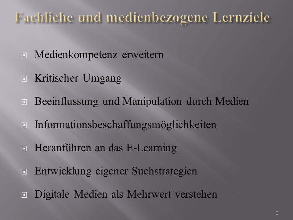Fachliche und medienbezogene Lernziele