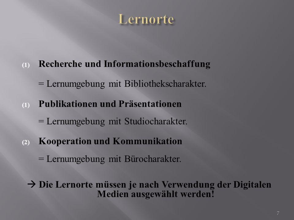 Lernorte Recherche und Informationsbeschaffung