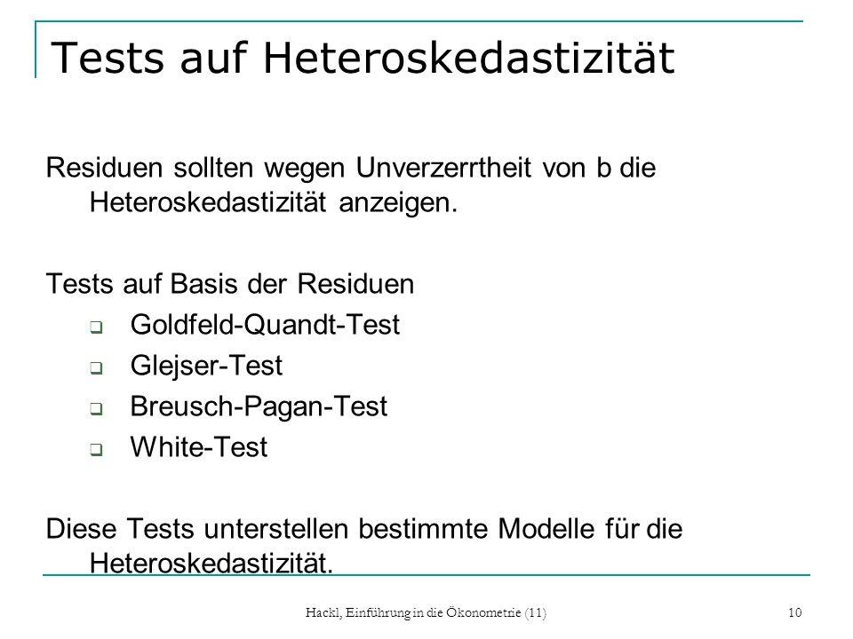 Tests auf Heteroskedastizität