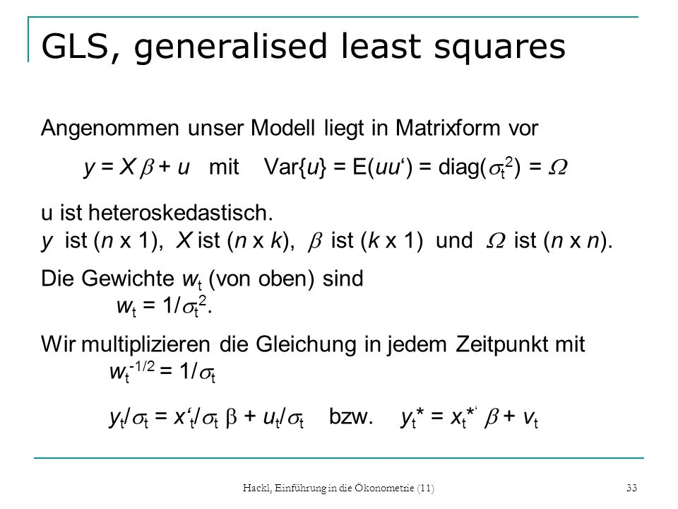 GLS, generalised least squares