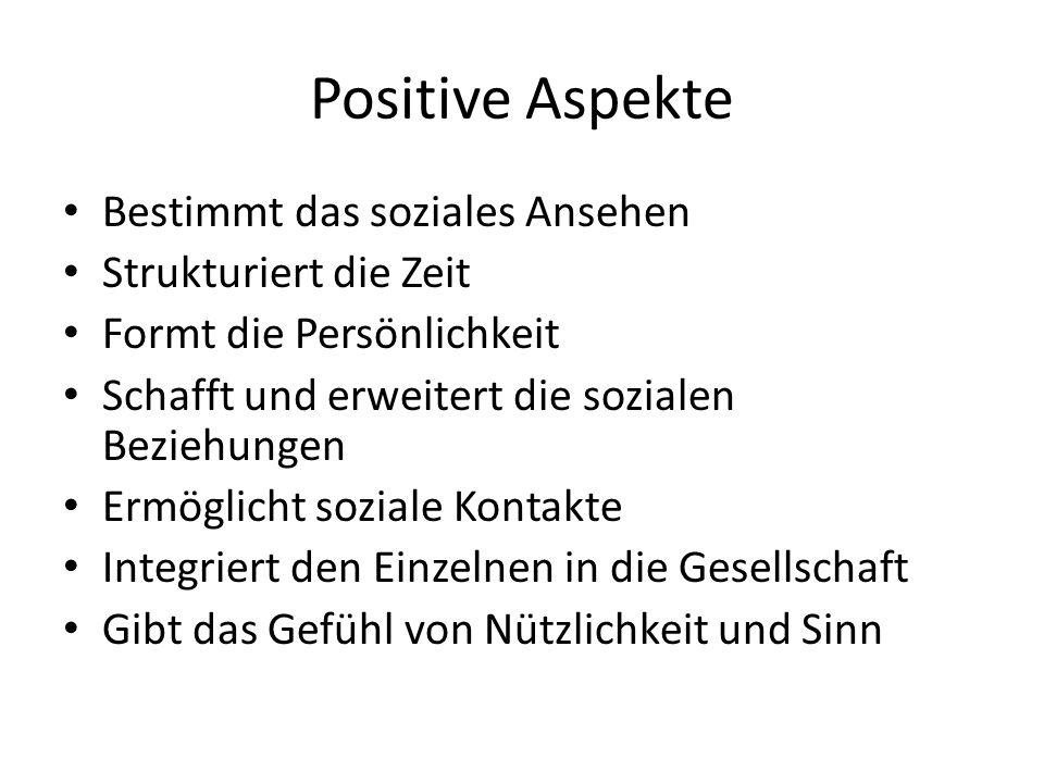 Positive Aspekte Bestimmt das soziales Ansehen Strukturiert die Zeit