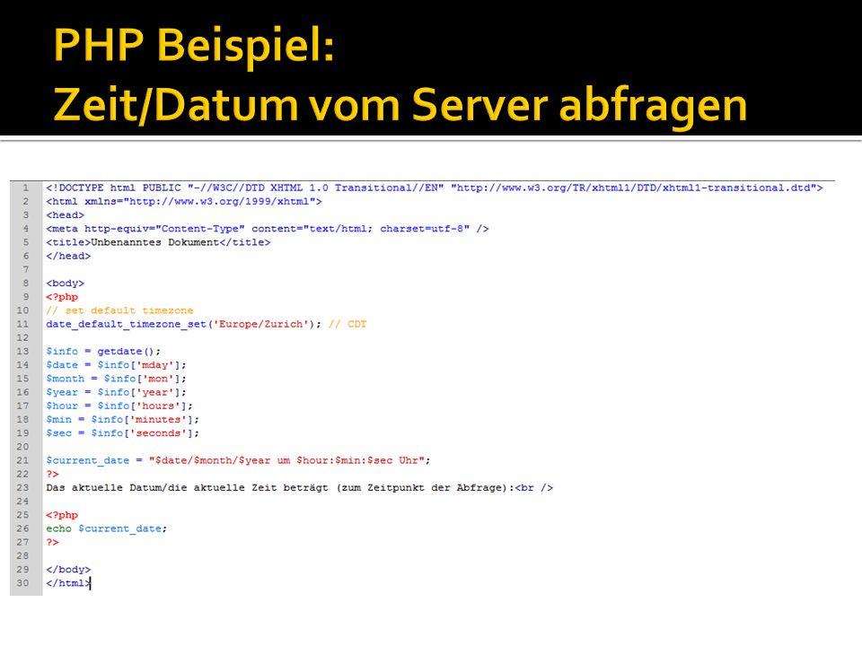 PHP Beispiel: Zeit/Datum vom Server abfragen