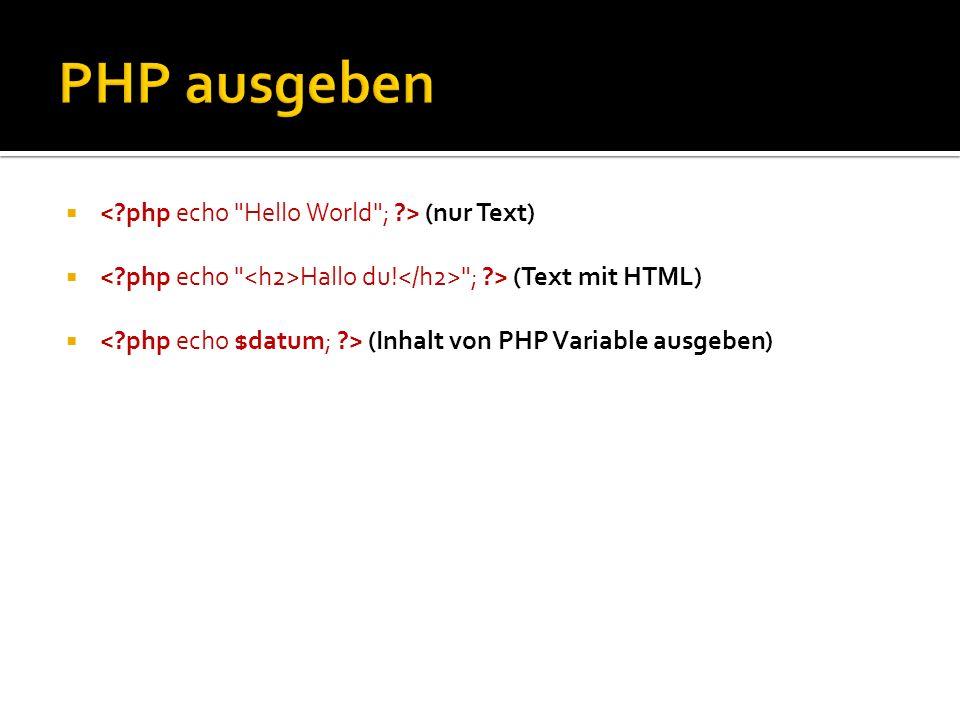 PHP ausgeben < php echo Hello World ; > (nur Text)