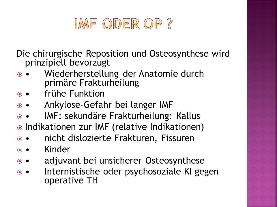 IMF oder OP Die chirurgische Reposition und Osteosynthese wird prinzipiell bevorzugt.