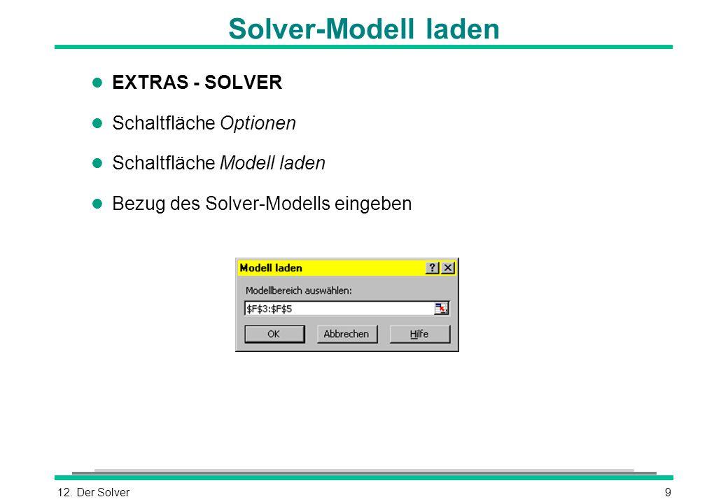 Solver-Modell laden EXTRAS - SOLVER Schaltfläche Optionen