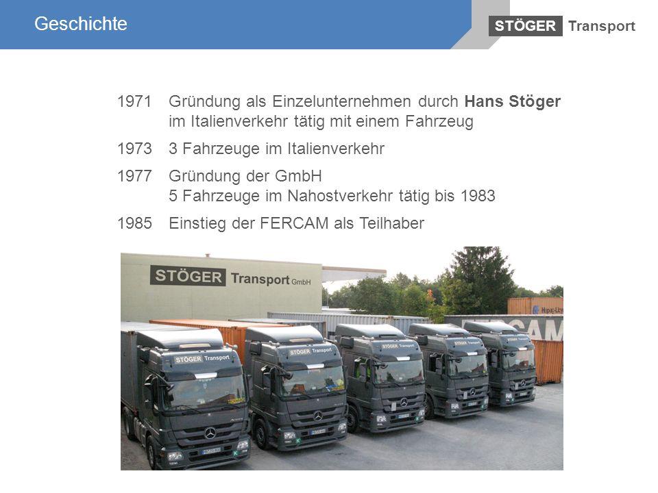 Geschichte Transport. STÖGER. 1971 Gründung als Einzelunternehmen durch Hans Stöger im Italienverkehr tätig mit einem Fahrzeug.