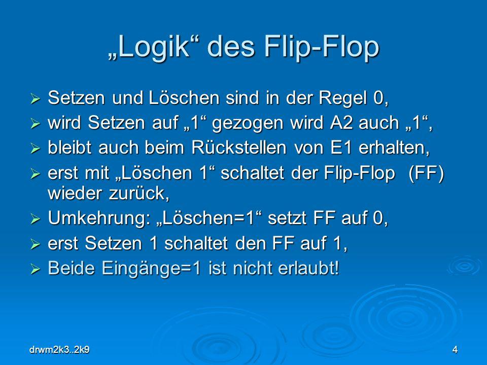 """""""Logik des Flip-Flop Setzen und Löschen sind in der Regel 0,"""
