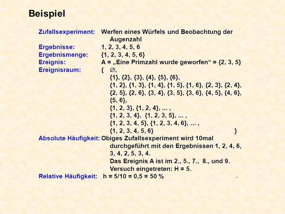 Beispiel Zufallsexperiment: Werfen eines Würfels und Beobachtung der Augenzahl. Ergebnisse: 1, 2, 3, 4, 5, 6.