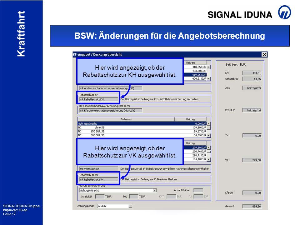 BSW: Änderungen für die Angebotsberechnung