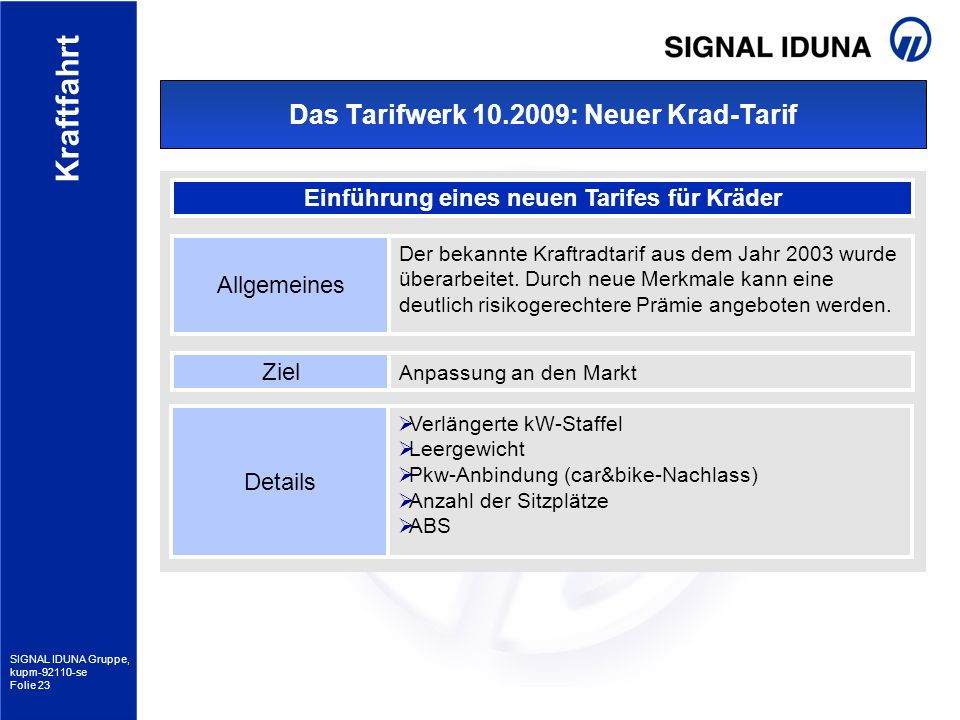 Das Tarifwerk 10.2009: Neuer Krad-Tarif