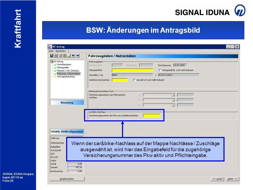 BSW: Änderungen im Antragsbild