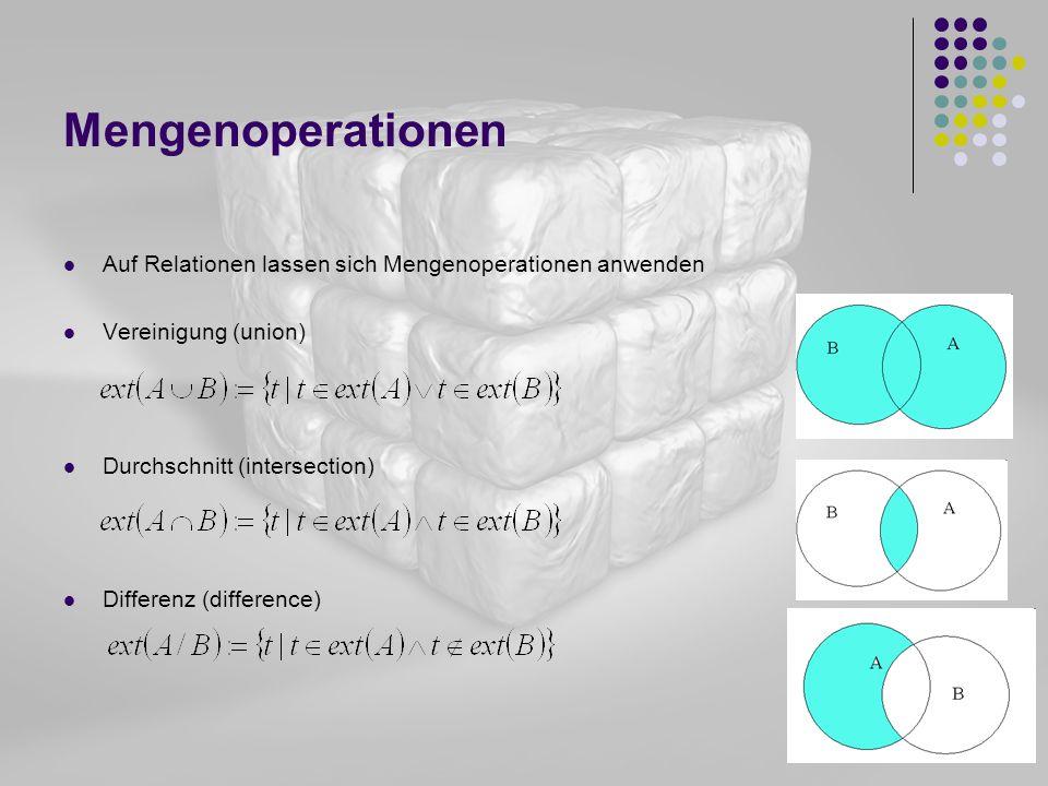 Mengenoperationen Auf Relationen lassen sich Mengenoperationen anwenden. Vereinigung (union) Durchschnitt (intersection)