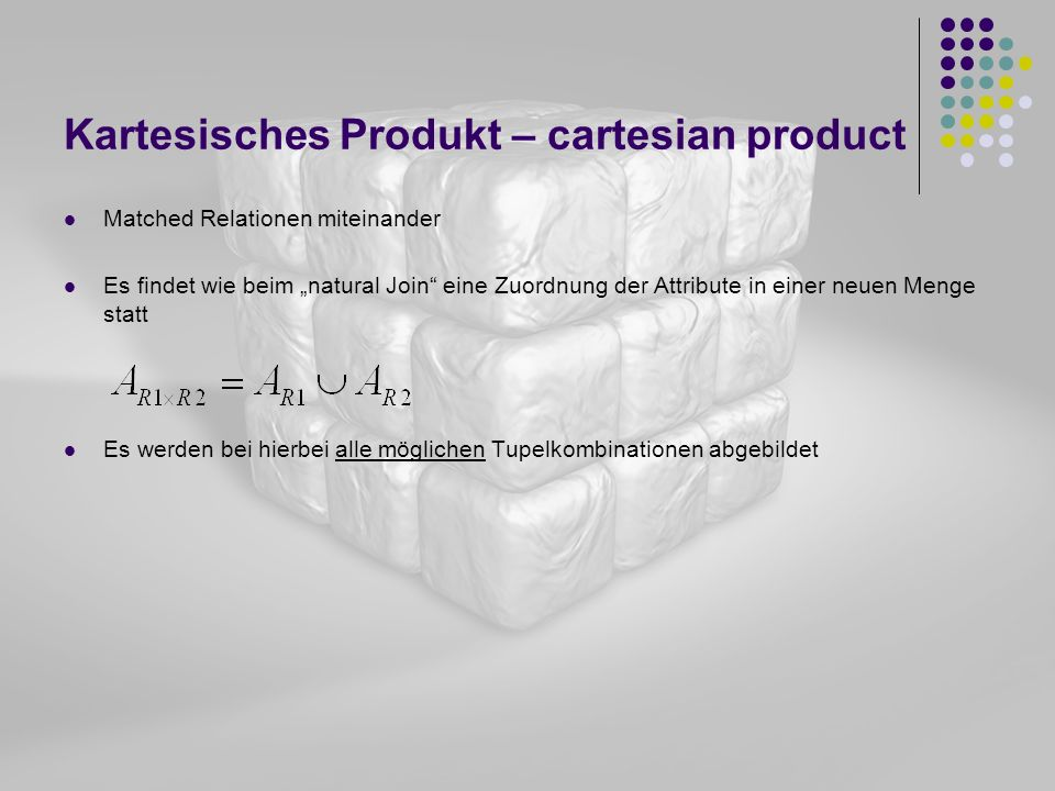 Kartesisches Produkt – cartesian product
