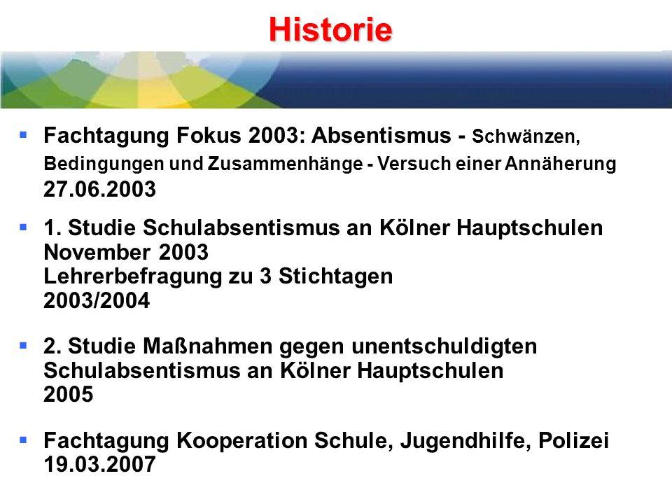 Historie Fachtagung Fokus 2003: Absentismus - Schwänzen, Bedingungen und Zusammenhänge - Versuch einer Annäherung 27.06.2003.