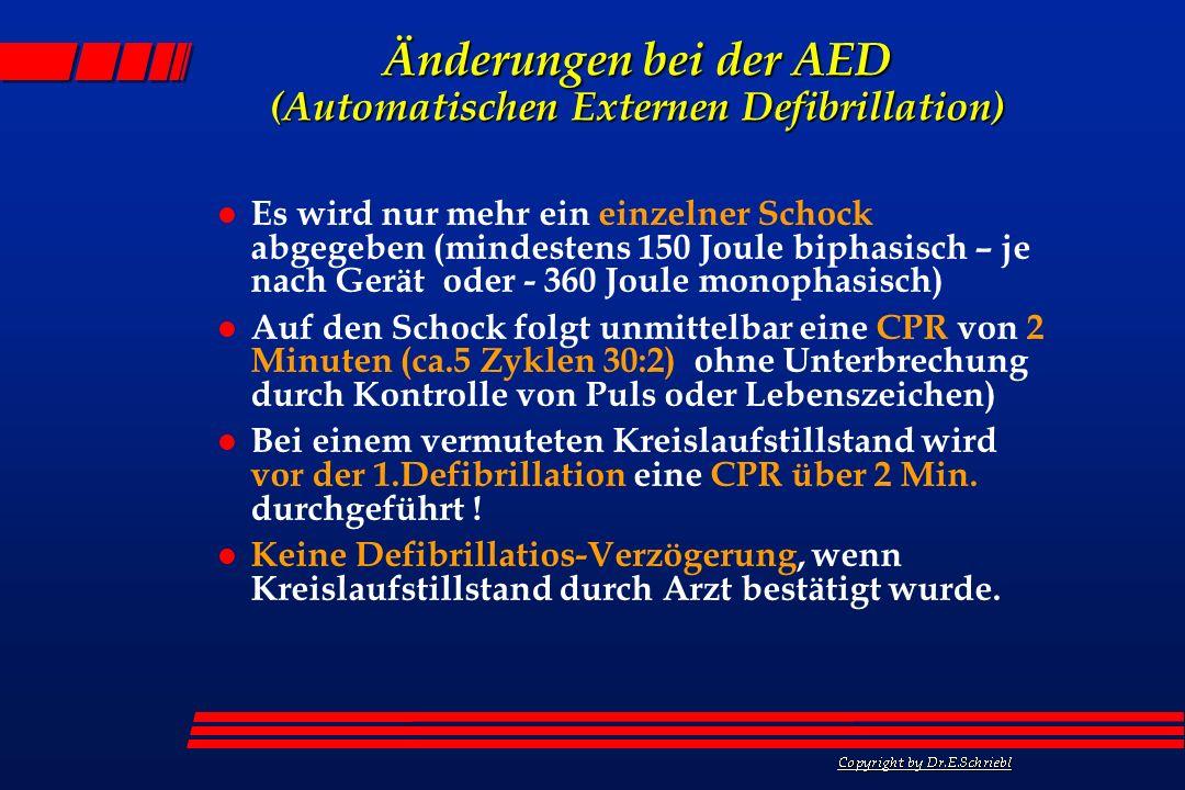 Änderungen bei der AED (Automatischen Externen Defibrillation)