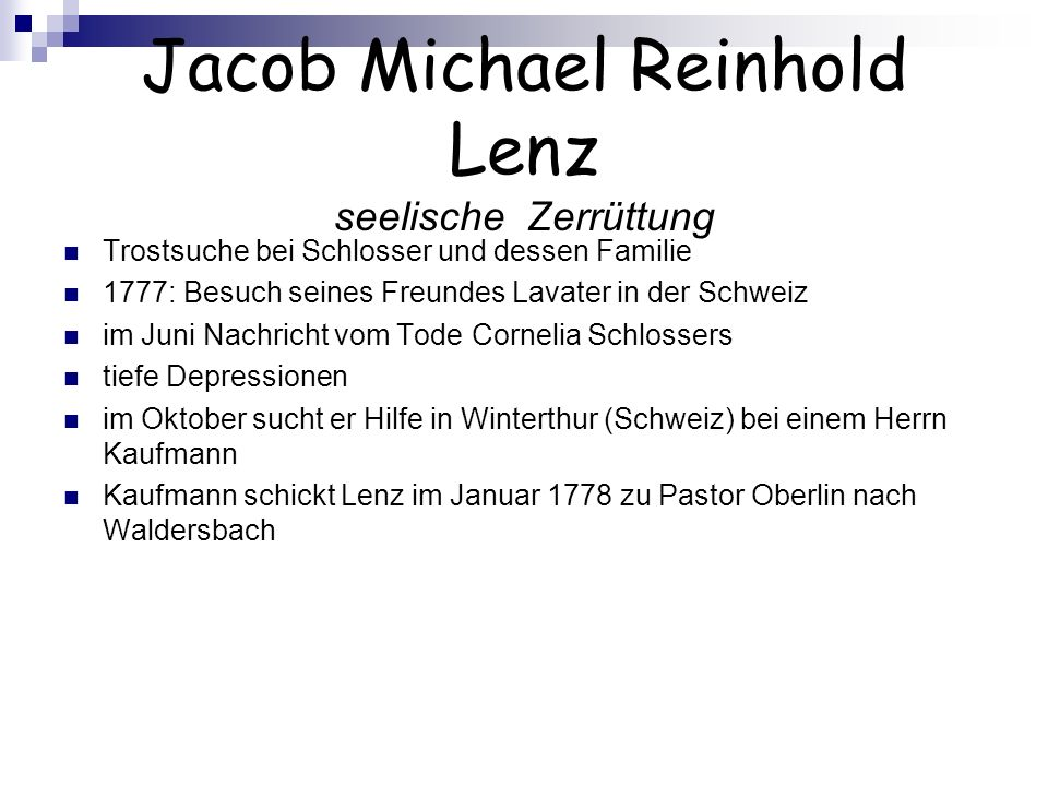 Jacob Michael Reinhold Lenz seelische Zerrüttung