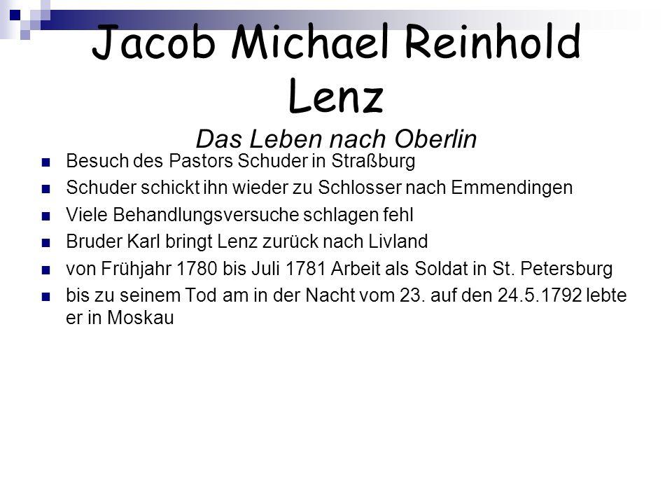 Jacob Michael Reinhold Lenz Das Leben nach Oberlin