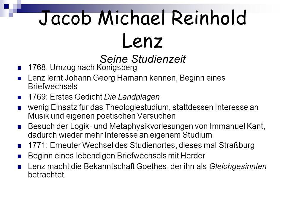 Jacob Michael Reinhold Lenz Seine Studienzeit