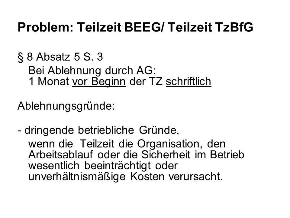 Problem: Teilzeit BEEG/ Teilzeit TzBfG