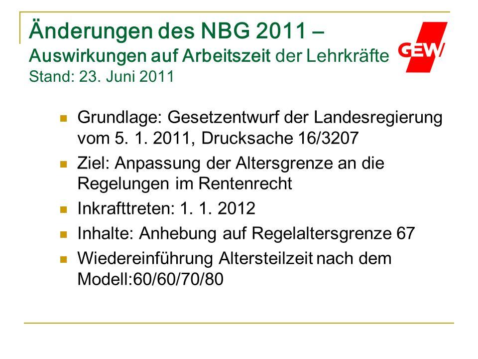 Änderungen des NBG 2011 – Auswirkungen auf Arbeitszeit der Lehrkräfte Stand: 23. Juni 2011