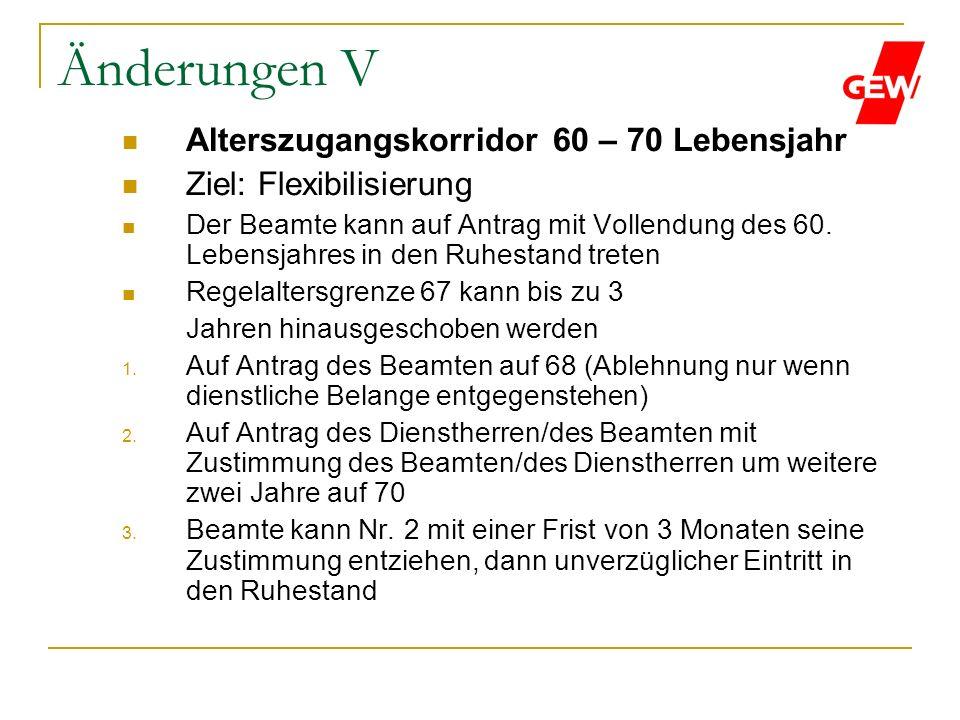 Änderungen V Alterszugangskorridor 60 – 70 Lebensjahr