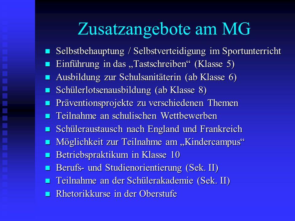 """Zusatzangebote am MG Selbstbehauptung / Selbstverteidigung im Sportunterricht. Einführung in das """"Tastschreiben (Klasse 5)"""