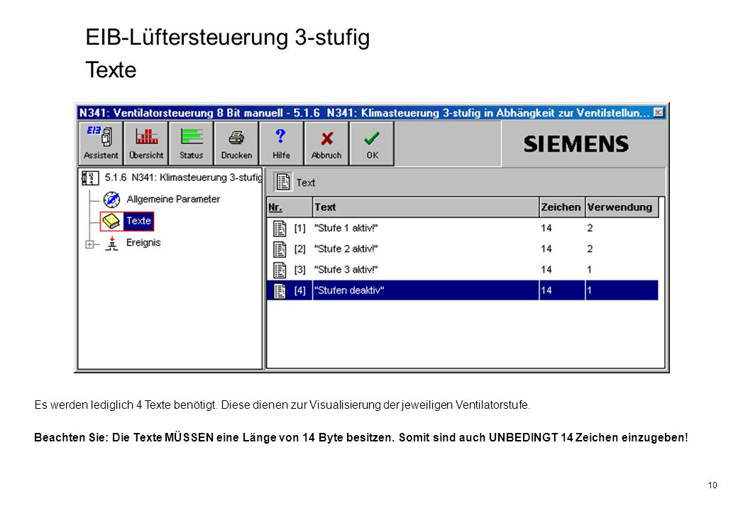 EIB-Lüftersteuerung 3-stufig Texte