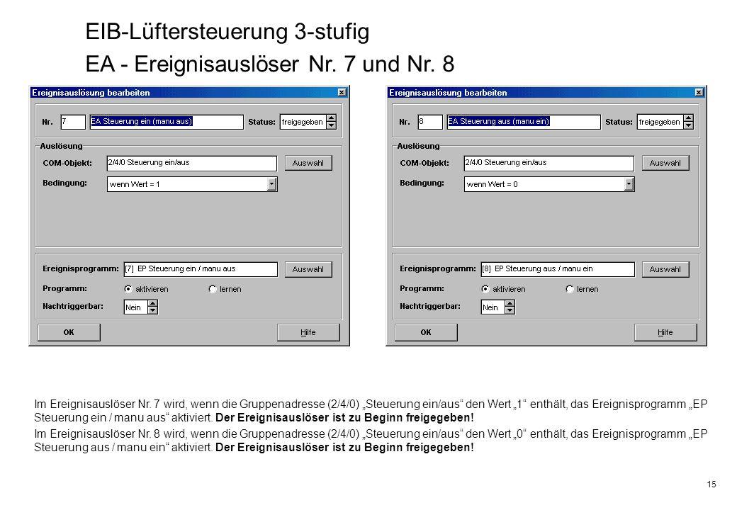 EIB-Lüftersteuerung 3-stufig EA - Ereignisauslöser Nr. 7 und Nr. 8