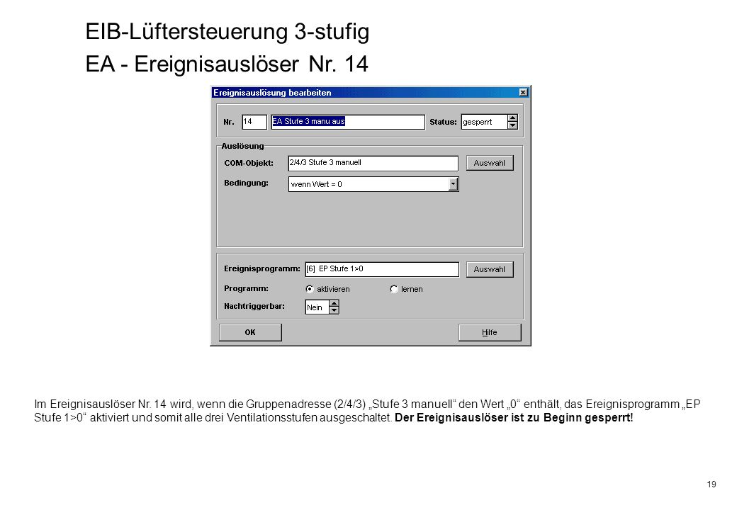 EIB-Lüftersteuerung 3-stufig EA - Ereignisauslöser Nr. 14