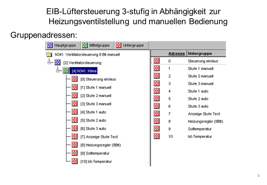 EIB-Lüftersteuerung 3-stufig in Abhängigkeit zur Heizungsventilstellung und manuellen Bedienung