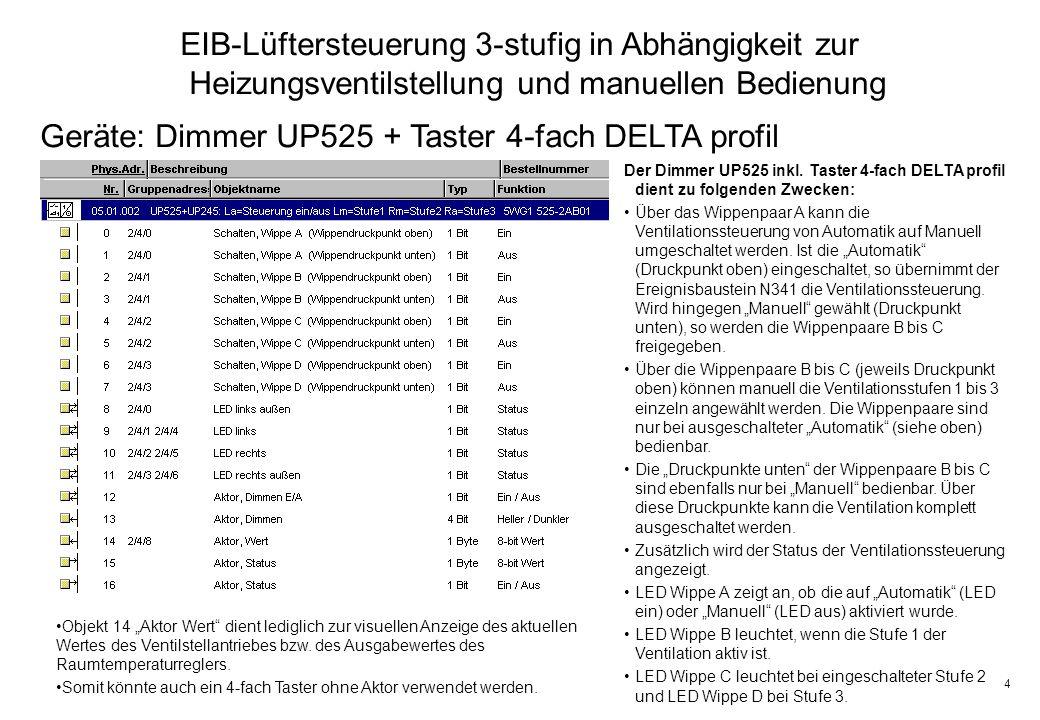 Geräte: Dimmer UP525 + Taster 4-fach DELTA profil