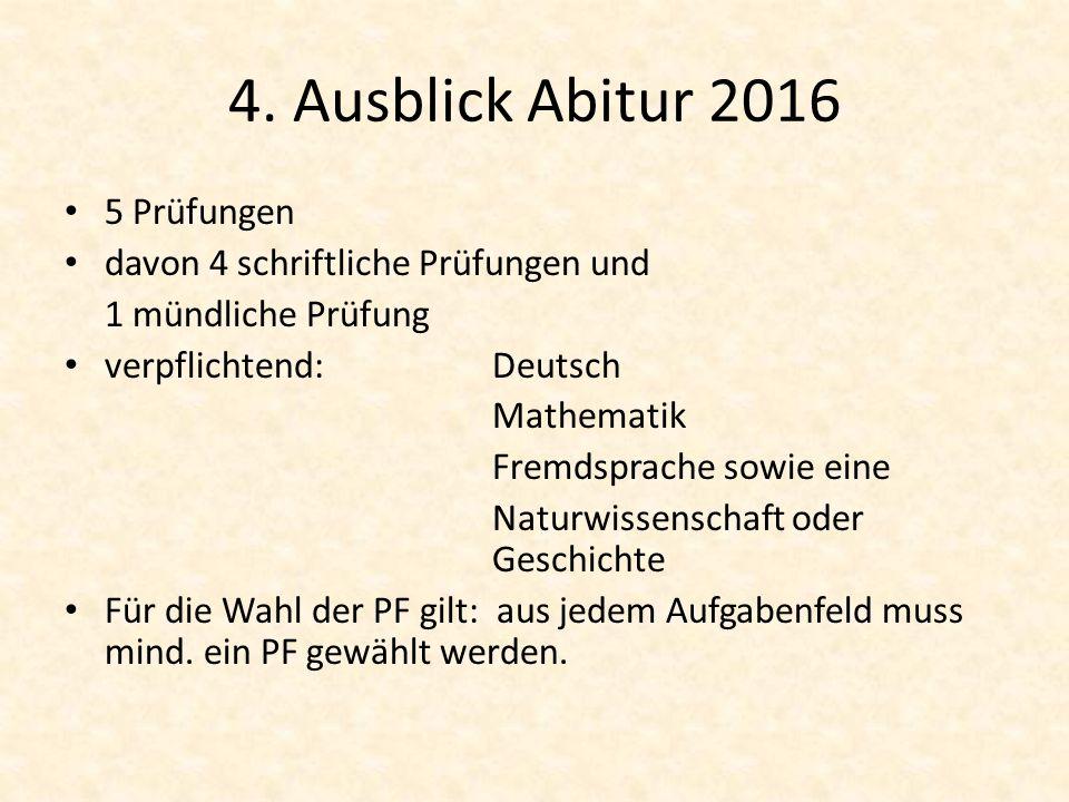 4. Ausblick Abitur 2016 5 Prüfungen davon 4 schriftliche Prüfungen und