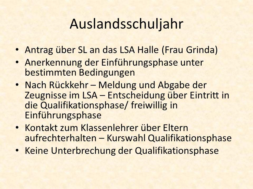 Auslandsschuljahr Antrag über SL an das LSA Halle (Frau Grinda)