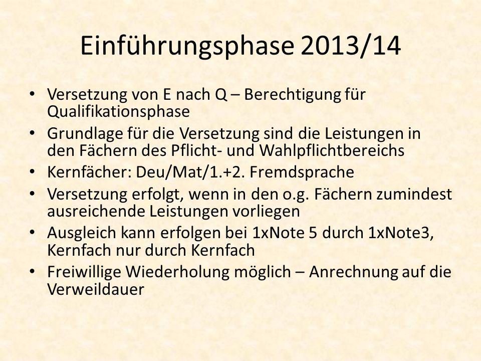 Einführungsphase 2013/14 Versetzung von E nach Q – Berechtigung für Qualifikationsphase.