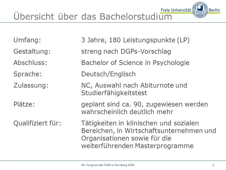 Übersicht über das Bachelorstudium
