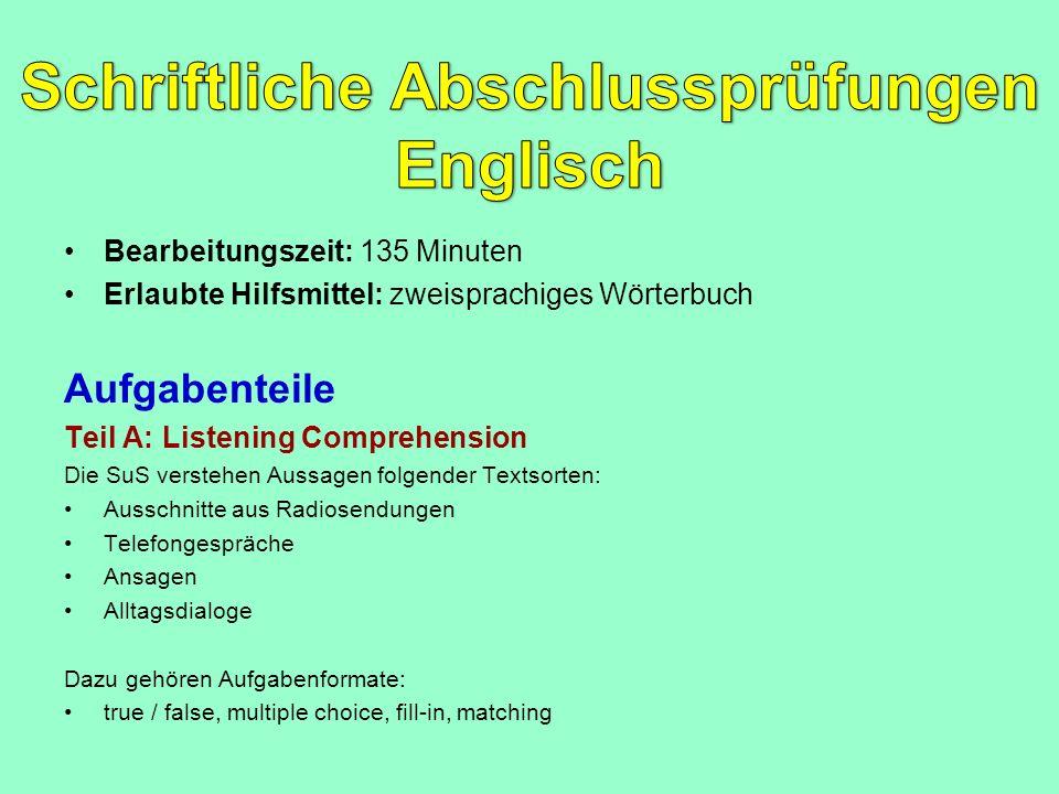 Schriftliche Abschlussprüfungen Englisch