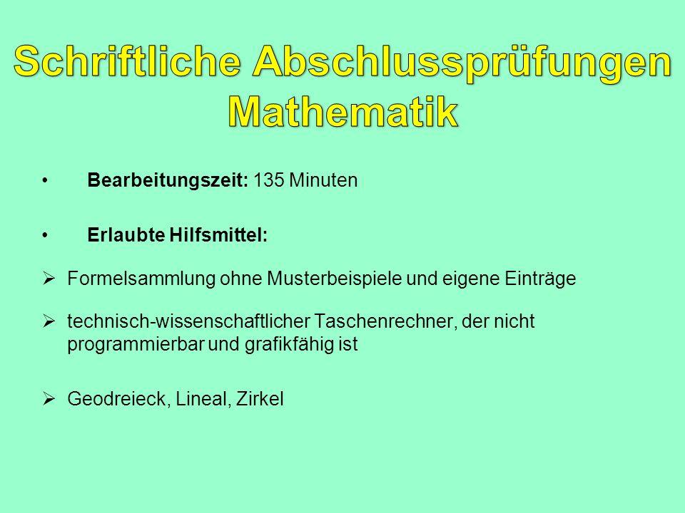 Schriftliche Abschlussprüfungen Mathematik