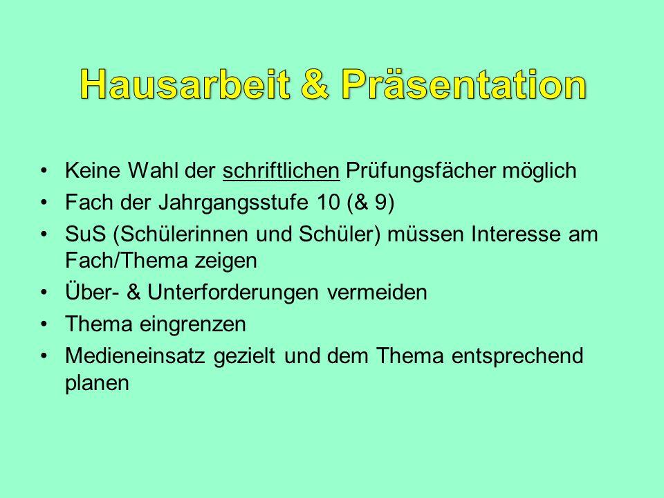 Hausarbeit & Präsentation