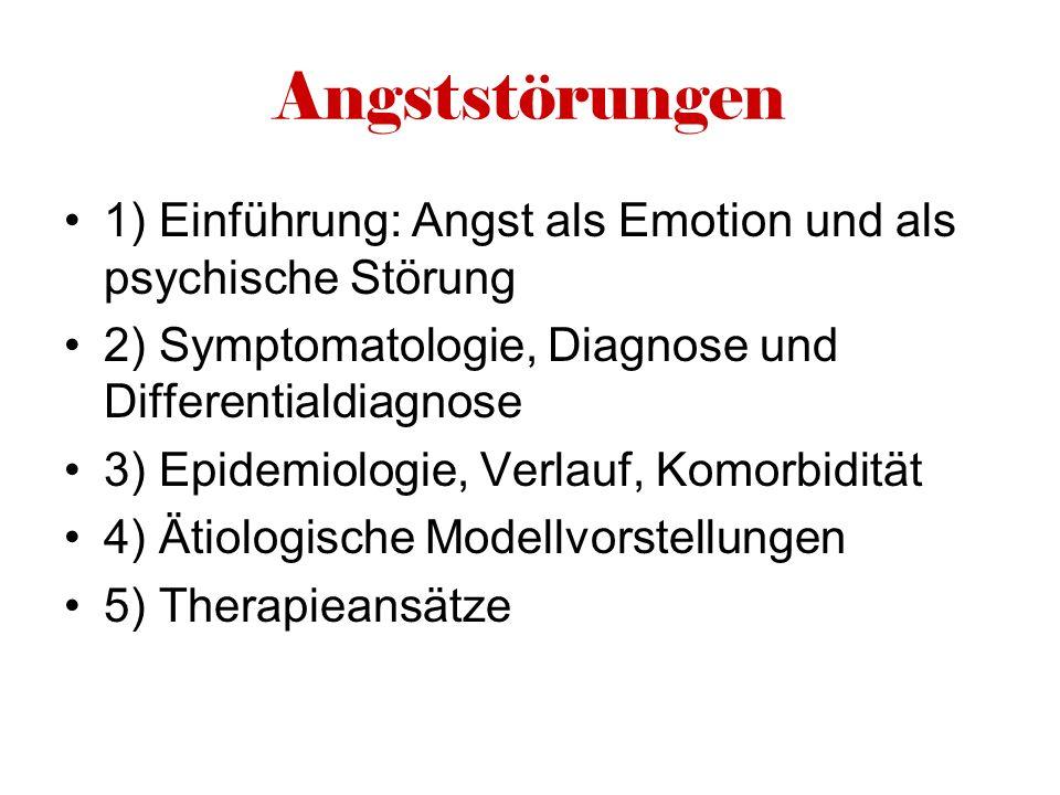Angststörungen 1) Einführung: Angst als Emotion und als psychische Störung. 2) Symptomatologie, Diagnose und Differentialdiagnose.