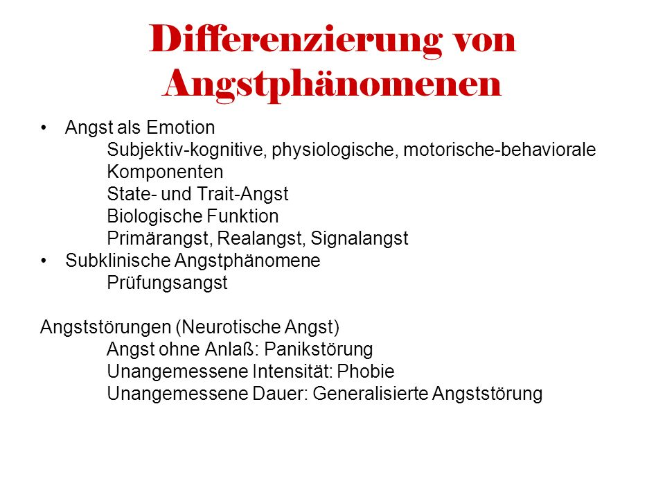 Differenzierung von Angstphänomenen