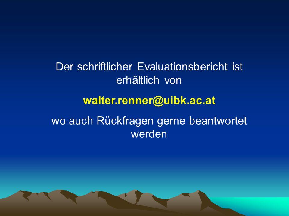 Der schriftlicher Evaluationsbericht ist erhältlich von
