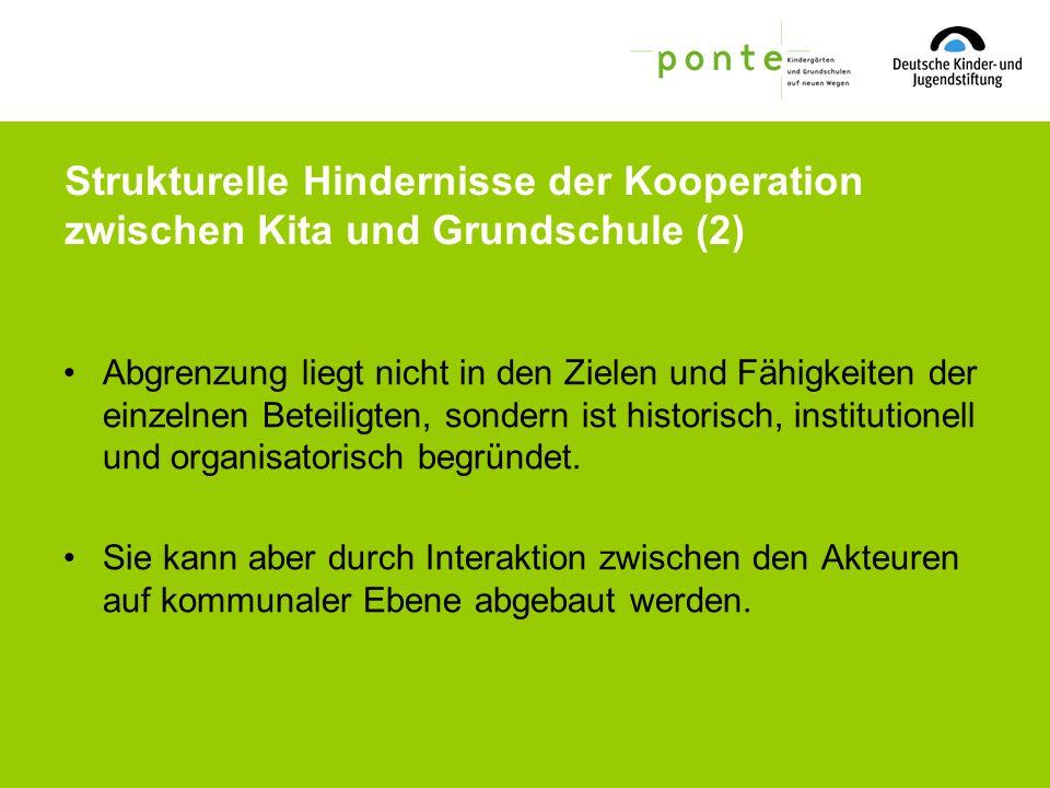 Strukturelle Hindernisse der Kooperation zwischen Kita und Grundschule (2)