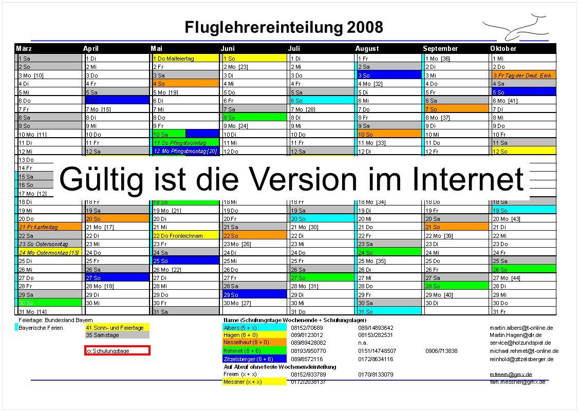 Fluglehrereinteilung 2008