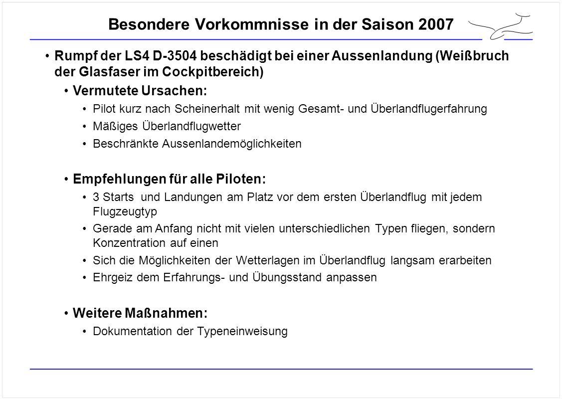 Besondere Vorkommnisse in der Saison 2007