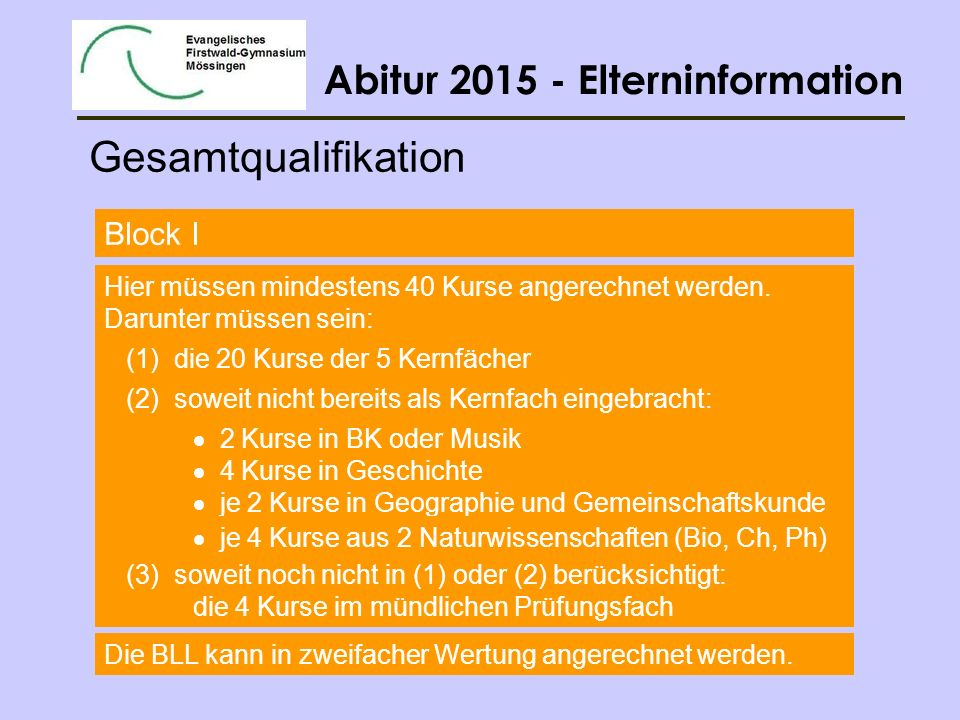 Gesamtqualifikation Block I