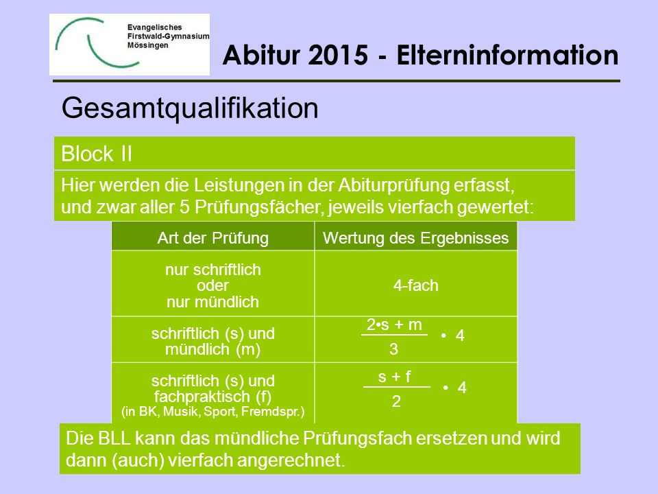 Gesamtqualifikation Block II
