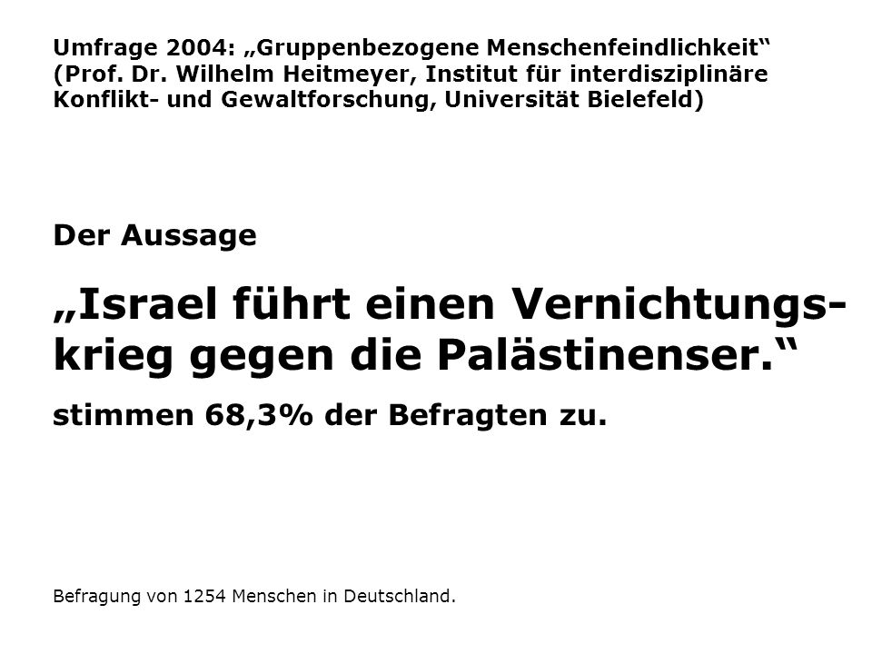 """""""Israel führt einen Vernichtungs-krieg gegen die Palästinenser."""