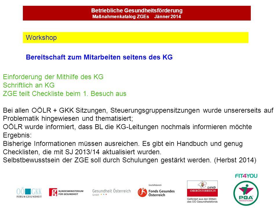 Betriebliche Gesundheitsförderung Maßnahmenkatalog ZGEs Jänner 2014