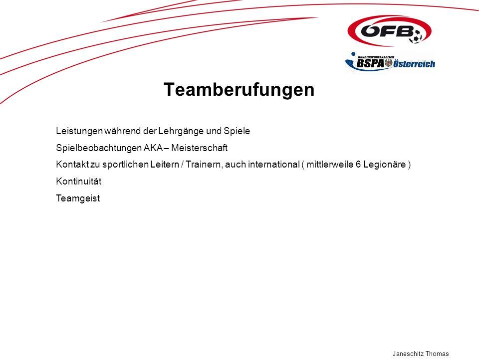 Teamberufungen Leistungen während der Lehrgänge und Spiele